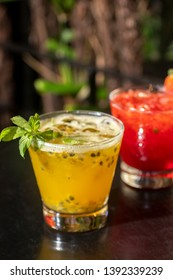 brazilian caipirinha drinks of maracuja