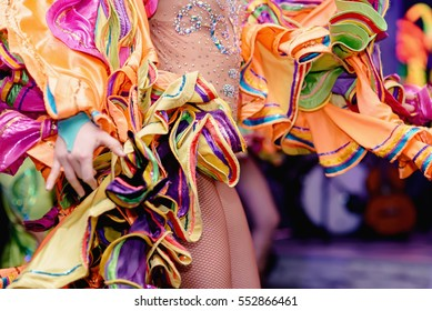 Brazilian Carnival. Dancing in bright tropical colors. Toning.Shallow depth of field.