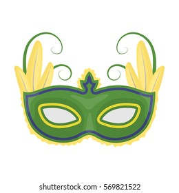 Brazilian carnival mask icon in cartoon style isolated on white background. Brazil country symbol stock bitmap, rastr illustration.