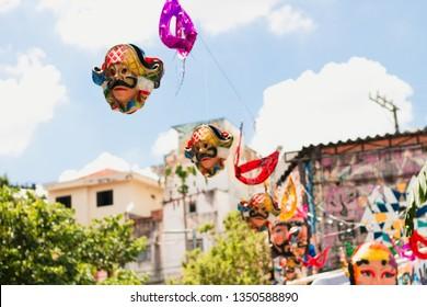 Brazilian carnival masks hanged up. - Sao Paulo/ Brazil.
