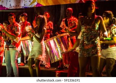 Brazilian Carnival. Presentation in public square of the samba school Água na Boca, in Ilhabela, Brazil, on February 23, 2017.