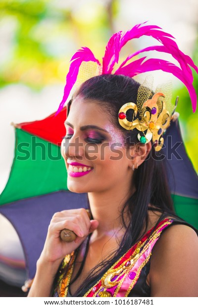 Brazilian Carnival Women Wearing Carnival Costumes Stock