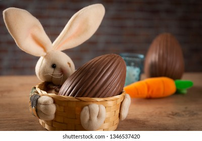 Brazilian Chocolate Easters eggs, on a rabbit basket.