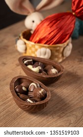 Brazilian Chocolate Easters eggs, on a wooden table.