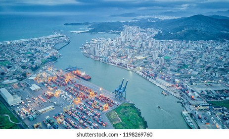 Brazilian cityscapes: Aerial view of Navegantes and Itajai