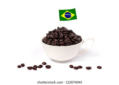 Brazilian coffee/Brazilian coffee beans in a cup isolated on white background