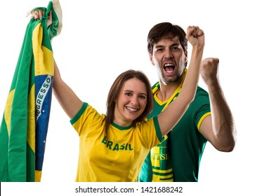Brazilian couple Celebrating on a white background.