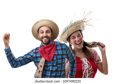 Brazilian couple wearing traditional costume for Junina Party