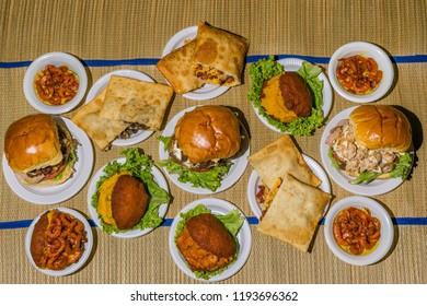 Brazilian dishes (acaraje, pastel, sandwiches)