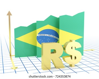 Brazilian economy growth bar graph with flag and currency symbol.