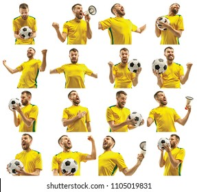 Brazilian fan celebrating on white background. The young man in soccer football uniform with ball standing at white studio. Fan, support concept. Human emotions concept.