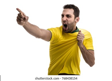 Brazilian fan celebrating on white background