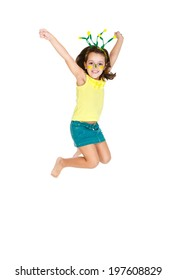 Brazilian fan Kid jumping and supporting Brazil for popular sports competitions, like soccer, volleyball and olympics.