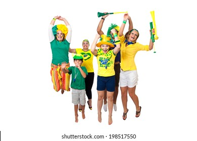Brazilian fans celebrating jumping and cheering on white background