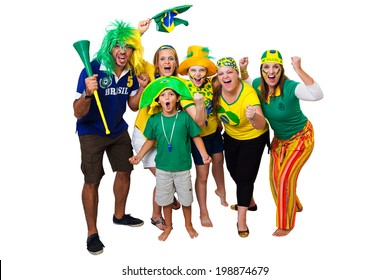 Brazilian fans celebrating a Brazilian soccer team goal on white background