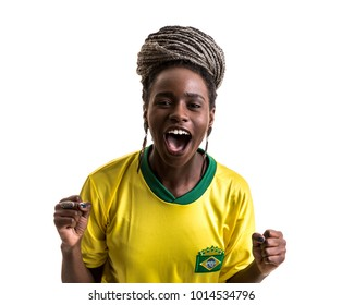 Brazilian female athlete / fan celebrating on white background