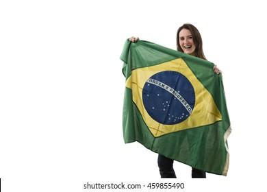 Brazilian Female Athlete Winning a golden medal on a white Background.