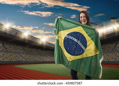 Brazilian Female Athlete Winning a golden medal on a Track and field stadium.