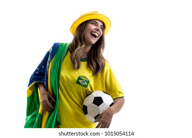 Brazilian female fan celebrating on white background