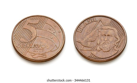 Brazilian five cents Real coin front and back faces isolated on white background with real shadows and clipping paths