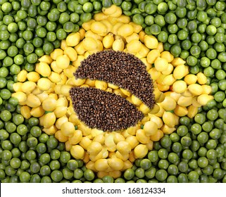 brazilian flag, collage from lemons and  coffee beans