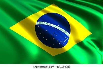Brazilian flag fabric with waves - Bandeira do Brasil