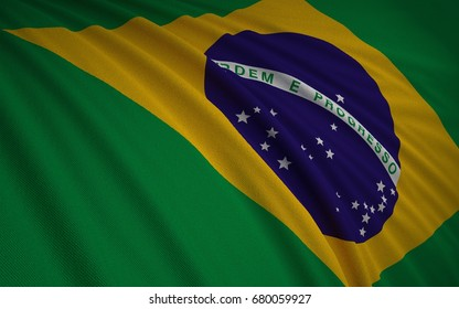 Brazilian Flag, Floating Fabric Flag, Brazil, 3D Render