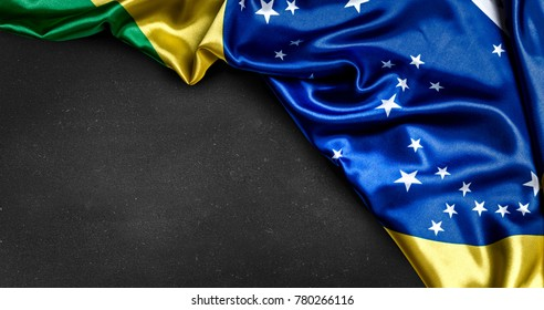 Brazilian flag on blackboard