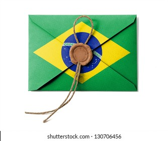 The Brazilian flag on the mail envelope. Isolated on white.