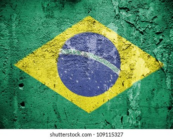 The Brazilian flag painted on grunge wall