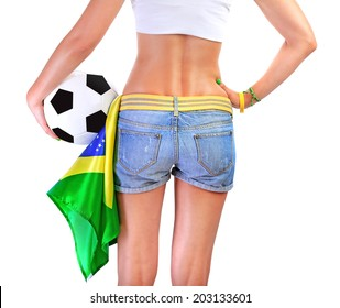 Brazilian football team supporter, rear view of sexy woman holding ball and Brazil flag isolated on white background, body part, world cup concept
