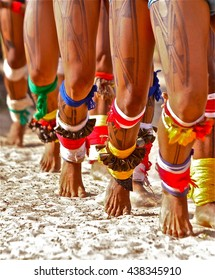 Brazilian Indians of the tribe Xingu dancing during Kuarup ritual. spiritual celebration that marks the death of a member of the village