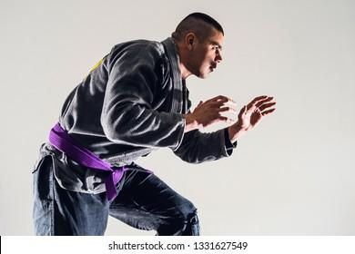 Brazilian Jiu JItsu BJJ Fighter in A Fighting Stance