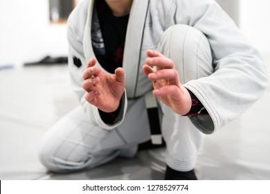Brazilian Jiu JItsu BJJ WHite Belt Fighter In A Fighting stance