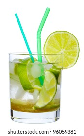 Brazilian Lime Cocktail Caipirinha isolated on white