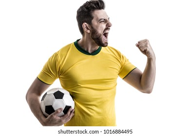 Brazilian male athlete / fan celebrating on white background
