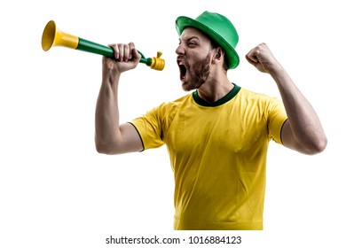 Brazilian male fan celebrating on white background