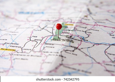 Brazilian Map close up. Chapada Diamantina National Park, at Bahia State pinned on a map of Brazil. Selective focus.
