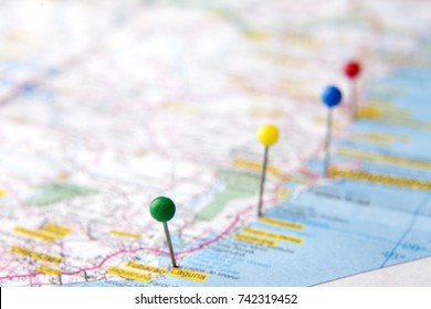 Brazilian Map close up. Cities from the coastal area pinned on the map of Brazil. Travel and vacation plans concepts. Selective focus.