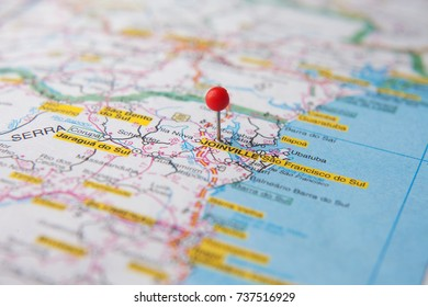 Brazilian Map close up. The city of Joinville, Santa Catarina State pinned on a map of Brazil.
