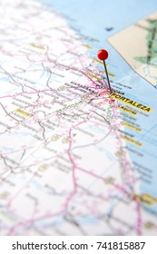 Brazilian Map close up. The city of Fortaleza, at Ceara State pinned on a map of Brazil. Selective focus.