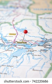 Brazilian Map close up. The city of Manaus, at Amazon State pinned on a map of Brazil. Selective focus.
