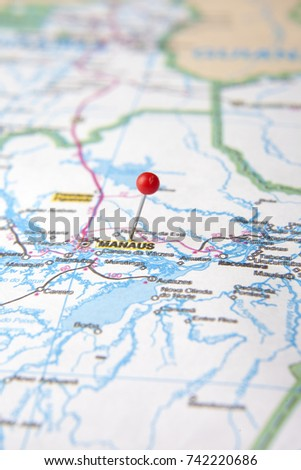 Brazilian Map Close Up City Manaus Stock Photo Edit Now 742220686