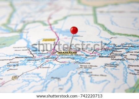 Brazilian Map Close Up City Manaus Stock Photo (Edit Now) 742220713 ...