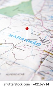 Brazilian Map close up.  Maranhao State pinned on a map of Brazil. Selective focus.