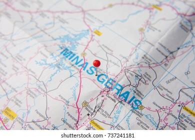 Brazilian Map close up. Minas Gerais State pinned on a map of Brazil.