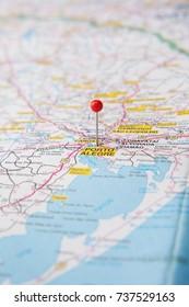 Brazilian Map close up. Porto Alegre, capital of Rio Grande do Sul State pinned on a map of Brazil.