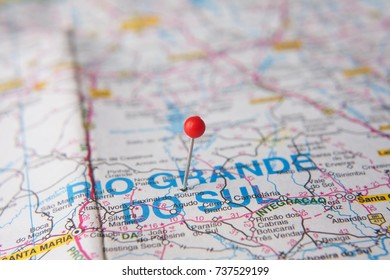 Brazilian Map close up. Rio Grande do Sul State pinned on a map of Brazil.