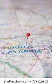 Brazilian Map close up. Santa Catarina State pinned on a map of Brazil.