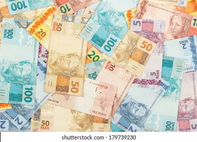 Brazilian money. A lot of new real notes.
